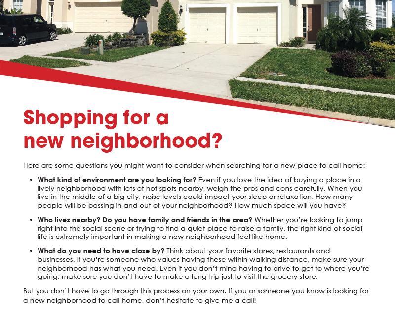 FARM: Shopping for a new neighborhood?