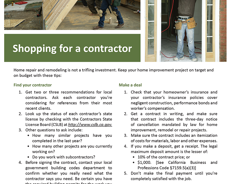 FARM: Shopping for a contractor