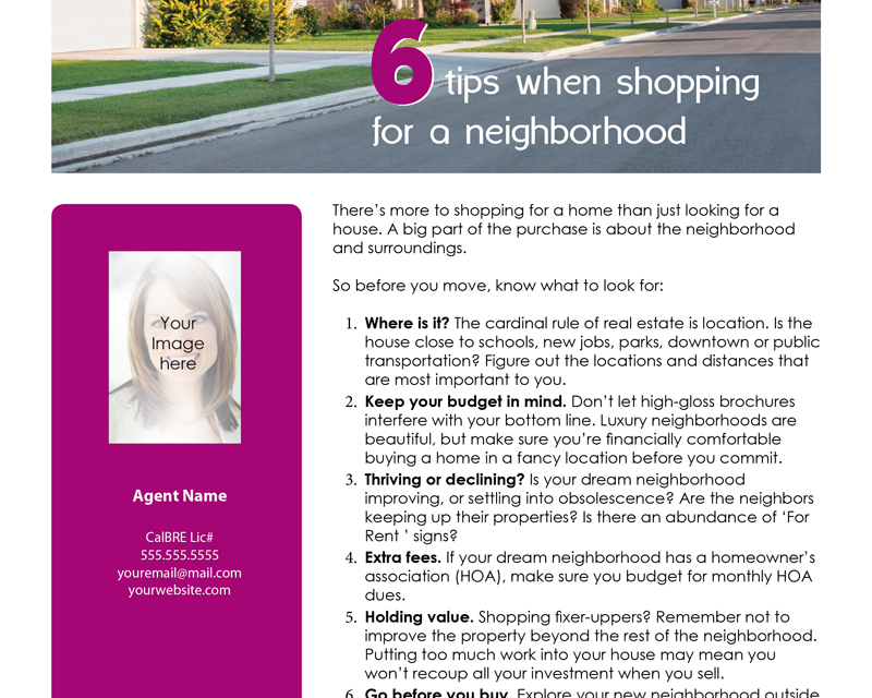 FARM: 6 tips when shopping for a neighborhood