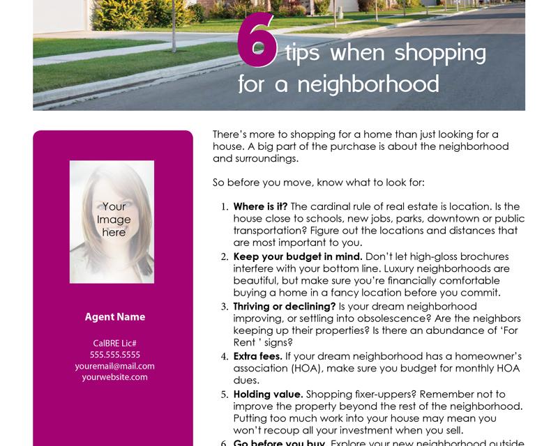 FARM: 6 tips when shopping for a neighborhood
