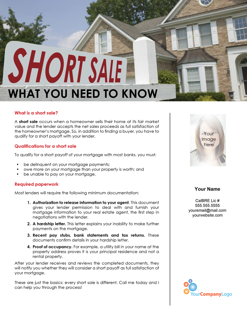 Farm short sales what you need to know first tuesday for Short sale marketing letter