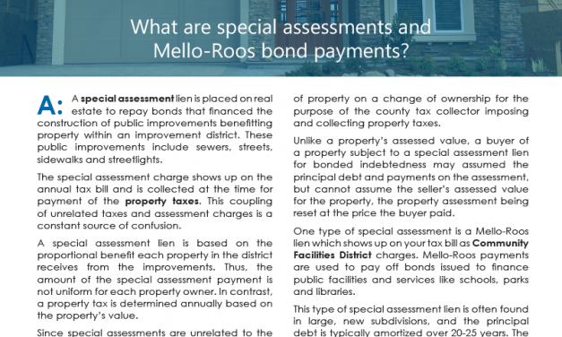 Client Q&A: What are special assessments and Mello-Roos bond payments?