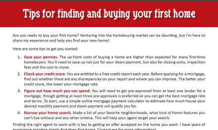FARM: Tips for finding and buying your first home
