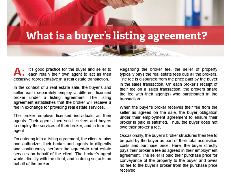 Client Q&A: What is a buyer's listing agreement?