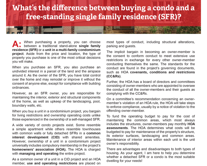 Client Q&A: What's the difference between buying a condo and a free-standing single family residence (SFR)?