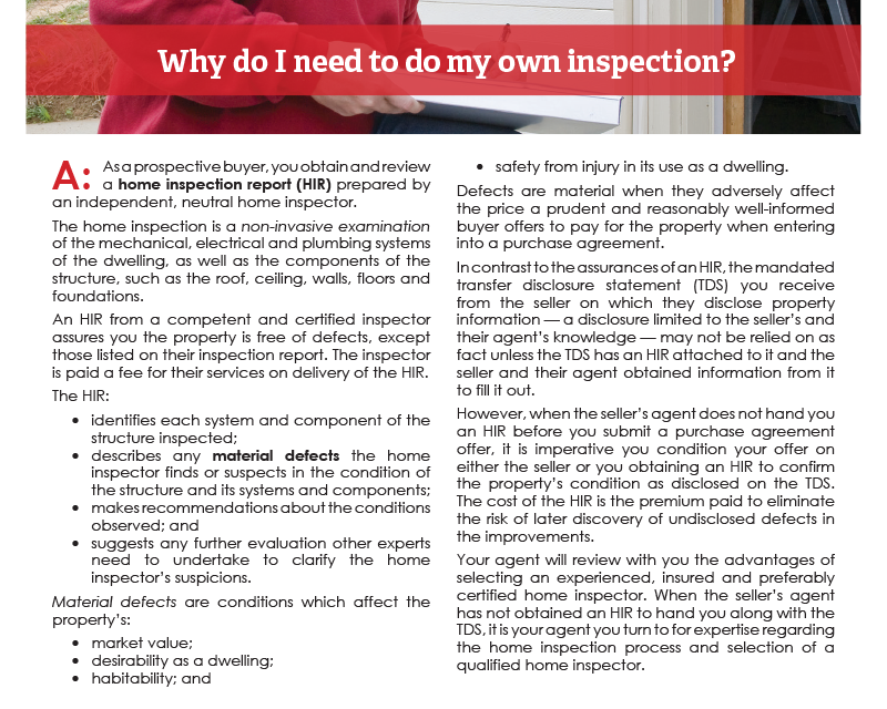 Client Q&A: Why do I need to do my own inspection? (buyer)