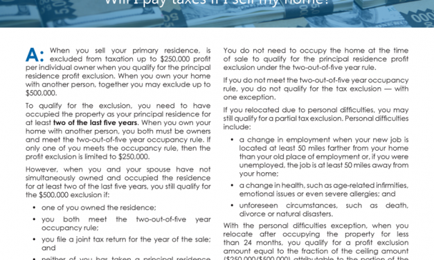 Client Q&A: Will I pay taxes if I sell my home?