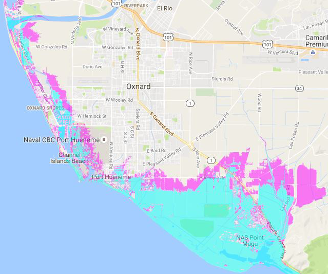 Image Courtesy The Pacific Insute Blue Areas Are Current Areas At Risk Of Flooding Pink Areas Are The Areas At Risk With A Four Foot Sea Level Rise